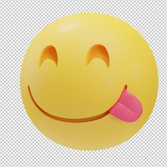 Illustration 3d emoji visage délicieux