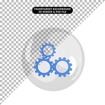 Illustration 3d de l'engrenage de l'objet à l'intérieur des bulles