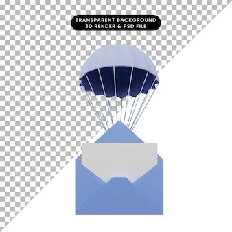 Illustration 3d d'une enveloppe d'objet simple avec parachute