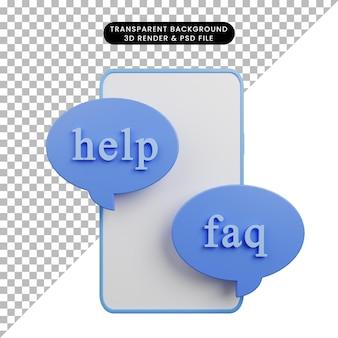 Illustration 3d de la faq d'aide avec smarthphone