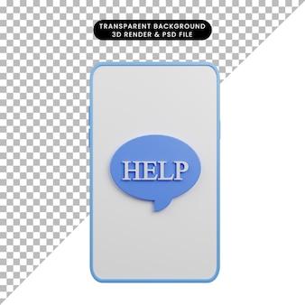 Illustration 3d de la faq d'aide sur smartphone