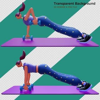 Illustration 3d. fille faisant de l'exercice avec des haltères.