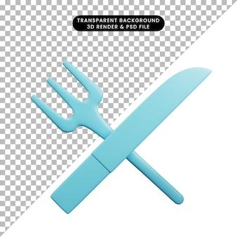 Illustration 3d de la fourchette et du couteau de trucs d'ustensiles de cuisine