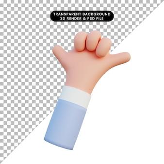 Illustration 3d de gestes de la main froide