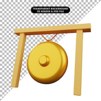 Illustration 3d d'un gong instrumental de musique d'objet simple