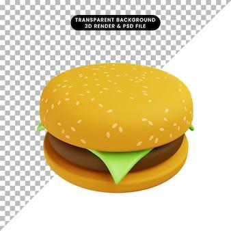Illustration 3d de hamburger alimentaire