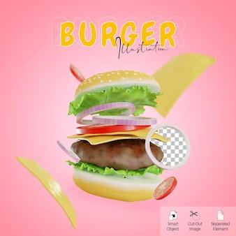 Illustration 3d de hamburger de restauration rapide volante avec élément de fromage pour le modèle de style mignon de médias sociaux