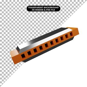 Illustration 3d d'un harmonica instrumental de musique d'objet simple