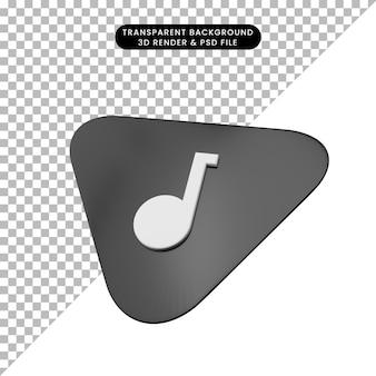 Illustration 3d de la hauteur de guitare instrumentale de musique d'objet simple