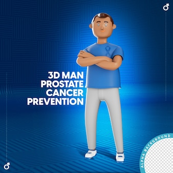 L'illustration 3d de l'homme avec la prévention du cancer de la prostate s'incline en bleu de novembre