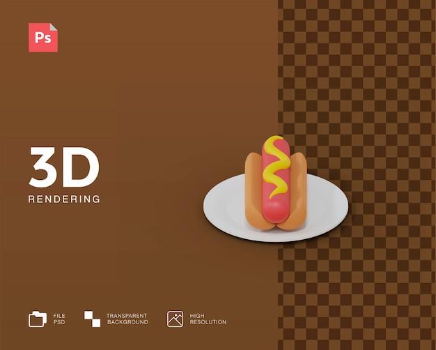 Illustration 3d de hot-dog