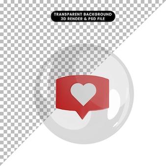 Illustration 3d de l'icône d'amour de chat d'objet à l'intérieur de bulles