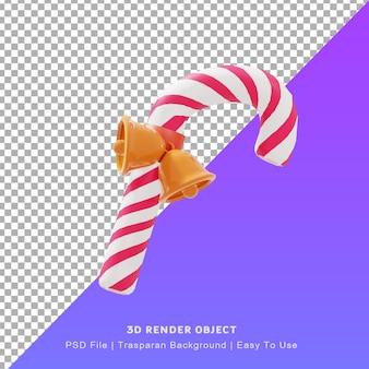 Illustration 3d de l'icône de canne en bonbon mignonne avec le jour de noël eux