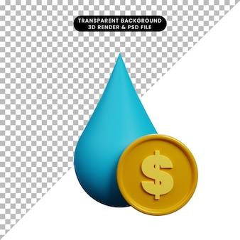 Illustration 3d de l'icône de l'eau concept de paiement avec pièce de monnaie