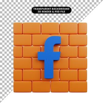 Illustration 3d de l'icône facebook des médias sociaux de l'objet simple sur la brique