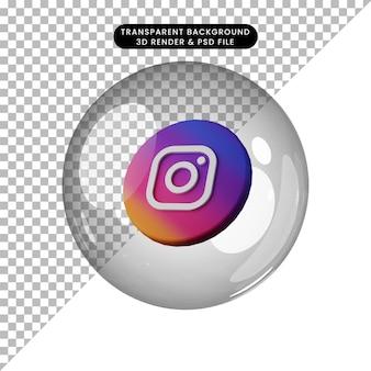 Illustration 3d de l'icône des médias sociaux instagram