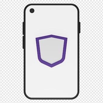 Illustration 3d de l'icône de smartphone sécurisé psd