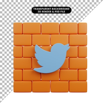 Illustration 3d de l'icône twitter des médias sociaux de l'objet simple sur des briques