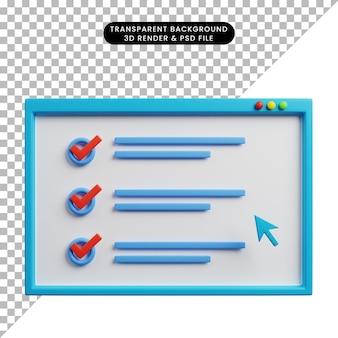 Illustration 3d de l'illustration web du concept de liste de contrôle