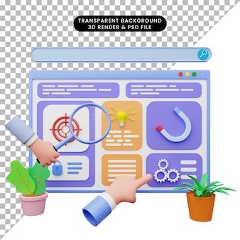 Illustration 3d de l'illustration web avec style 3d