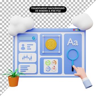 Illustration 3d De L'illustration Web Avec Style 3d PSD Premium