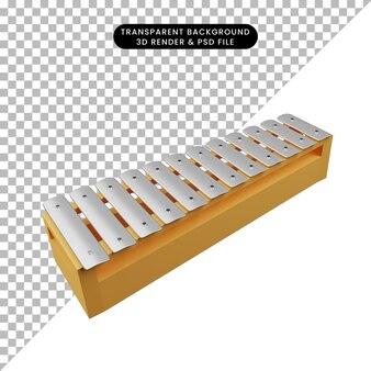 Illustration 3d d'instruments de musique d'objet simple