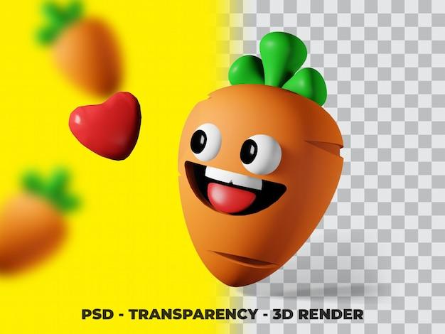 Illustration 3d de légumes carottes avec fond de transparence