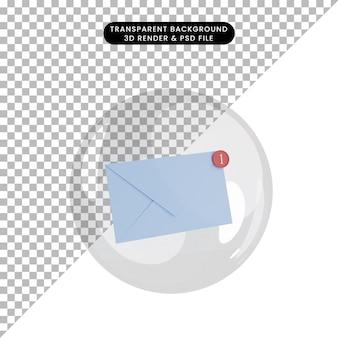 Illustration 3d de la lettre enveloppe de l'objet à l'intérieur des bulles