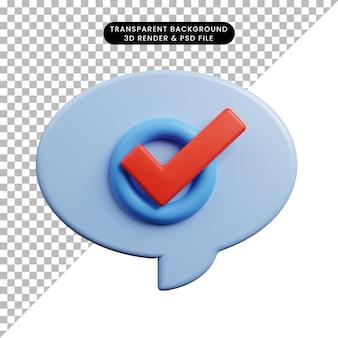 Illustration 3d de la liste de contrôle de la bulle de discussion du concept de liste de contrôle