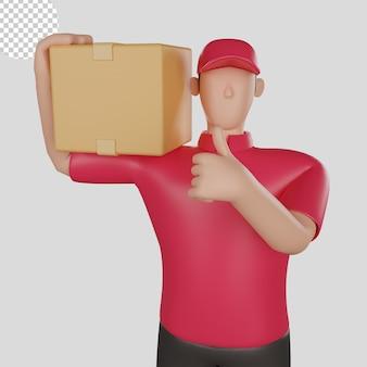 Illustration 3d d'un livreur portant une chemise rouge tenant les marchandises d'un client. psd premium