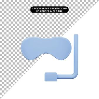 Illustration 3d de lunettes de plongée d'objet simple