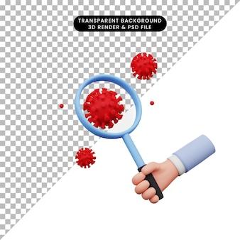 Illustration 3d de la main tenant une loupe au virus corona