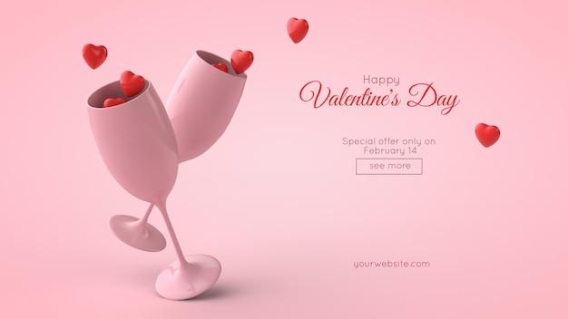 Illustration 3d de la maquette de carte postale de la saint-valentin