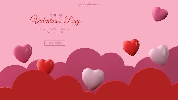 Illustration 3d de la maquette de carte de voeux saint valentin