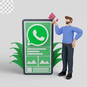 Illustration 3d marketing des médias sociaux avec whatsapp