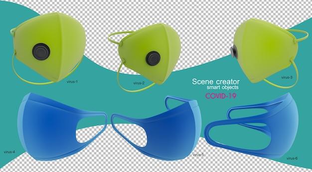 Illustration 3d de masque anti-virus isolé