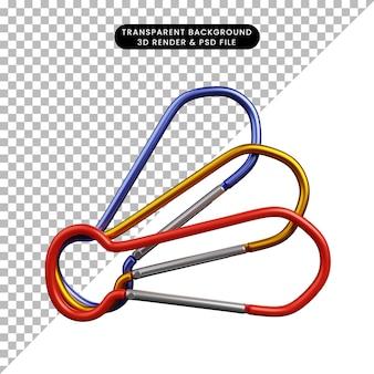 Illustration 3d de la montée du crochet d'objet simple