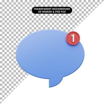Illustration 3d de la notification de bulle de chat icône simple
