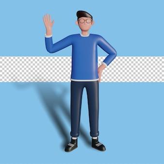 Illustration 3d d'un personnage agitant pour une page de destination