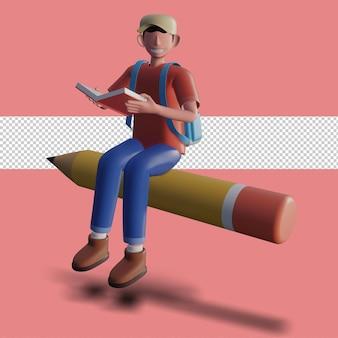 Illustration 3d d'un personnage lisant un livre
