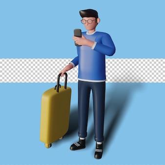 Illustration 3d d'un personnage partant en vacances tout en tenant un téléphone intelligent