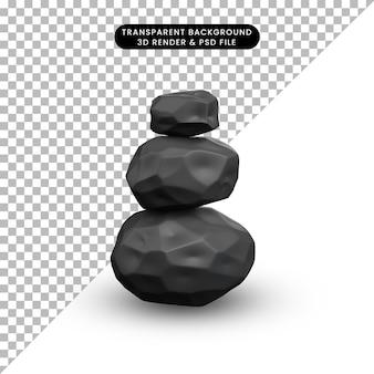 Illustration 3d d'une pile d'objets simples de roche