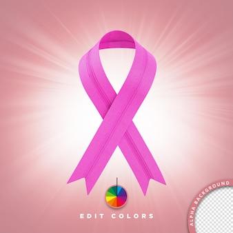 Illustration 3d pour la composition psd cravate de prévention du cancer avec des couleurs modifiables