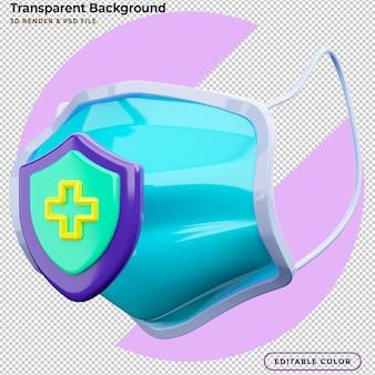 Illustration 3d protection médicale du masque