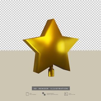 Illustration 3d réaliste de décoration de noël étoile dorée