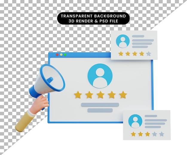 Illustration 3d à la recherche d'un emploi ou d'un emploi de location avec main 3d et mégaphone