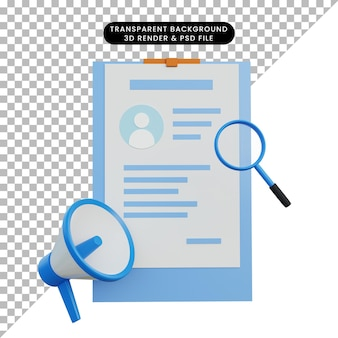Illustration 3d à la recherche d'un emploi