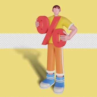 Illustration 3d de la remise de promotion des ventes