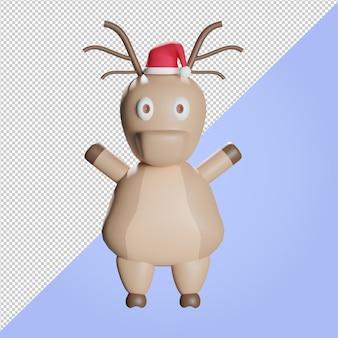 Illustration 3d de renne heureux avec chapeau de noël rouge