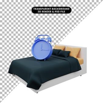 Illustration 3d d'un réveil d'objet simple sur le lit